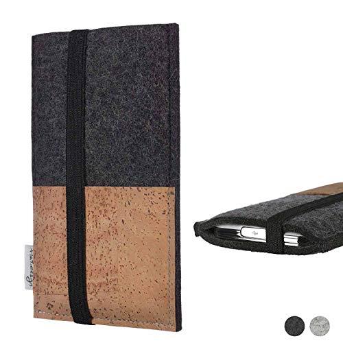 flat.design Handy Hülle Sintra für Doogee S60 Lite Handytasche Filz Tasche Schutz Kartenfach Case Natur Kork