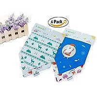 babyin Confezione da 4babydew Bavaglino a bandana, 3strati morbido cotone bambù in pile impermeabile Bavaglino con Snaps per bambini Drooling, dentizione e alimentazione