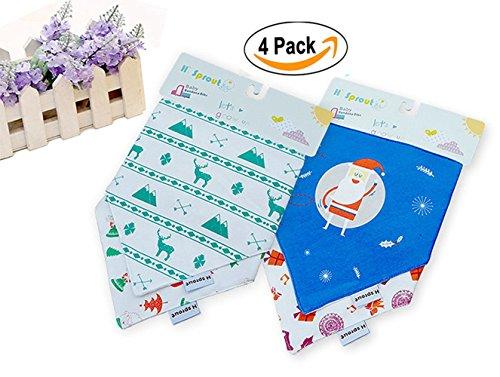 BabyIn 4 Pack BabyDew Bandana bavaglini, 3 strati morbido cotone di bambù in pile Salopette impermeabile con bottoni automatici per bambini sbavando, dentizione e alimentazione(C)