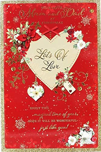 Weihnachtskarte Mum & Dad-Kamin Traditionelle, Baum und Geschenke 24,8x 17,1cm -