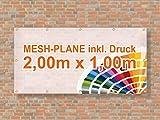 Baugerüst | Mesh Banner / Werbeplane / Werbebanner | 2m x 1m | inklusive Saum und Ösen | brillanter Druck - besonders stabil - wetterfest | 270g/m² | luftdurchlässig | einseitig mit Ihrem Motiv bedruckt
