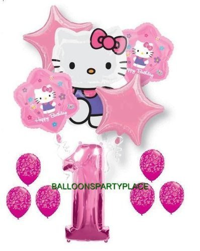 HELLO KITTY PINK PURPLE 1st birthday damask party balloons first supplies girls by Lgp by Lgp - Hello Kitty Birthday Party Balloons