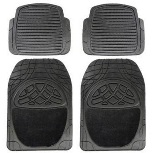 Leo SP17B Universal Black Luxury Design Rubber Floor Mat with Carpet (4-Piece Set)