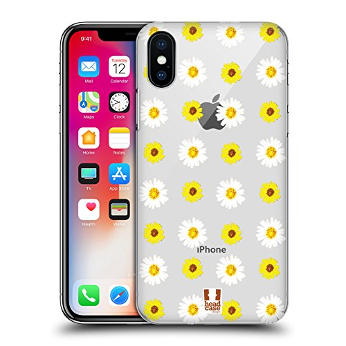 Head Case Designs Tropicale Flower Power Cover Retro Rigida per Apple iPhone X Margherita Girasole
