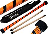 TWIST Devilstick (Orange/Schwarz) inkl. Holz Handstäbe mit 2 mm Silikonmantel + Reisetasche! Flames N Games Devil stick Set Für Kinder und Erwachsene.
