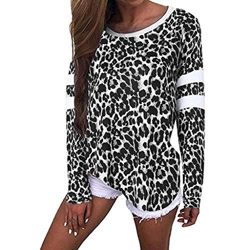 ALISIAM Camiseta Casual para Mujer Blusa Holgada con Estampado de Leopardo Jumper de Manga Larga Tops Ropa con Cuello en O Sudadera de otoño e Invierno Jersey de poliéster