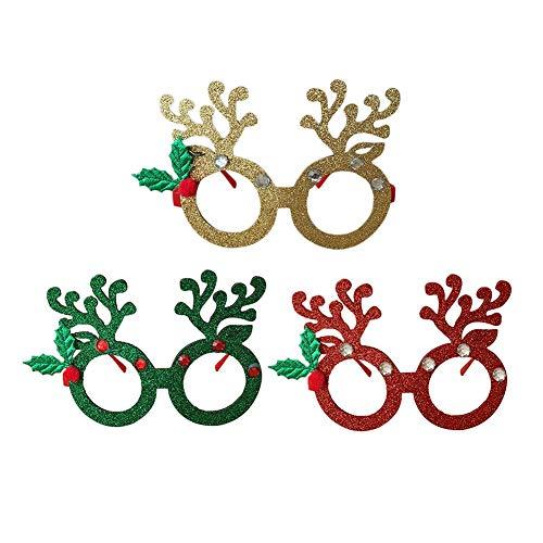 Glassess Christmas Cute Deer Horn Modellierung Dekorative Brillengestell Weihnachtsfeier Modellierung Dekoration, Kinderspielzeug - Grün & Rot