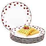 Van Well 6er Set Dessertteller Funny | edler Porzellan-Teller für Frühstück, Kuchen & Gebäck | weiß mit roten Punkten