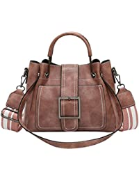 b522c46902406 Dragon868 Damentasche Elegant Retro Vintage Tasche Leder Kleine  Schultertasche mit Umhängetasche Handtasche (Rosa)