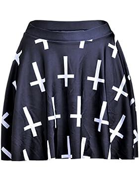Honghu Verano Elegante Mini Kitt Plisada Impresión Falda para Mujer
