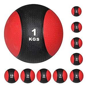 Medizinball Gewichtsball von POWRX 1 - 10 kg | Schwarz / Rot (1 kg)