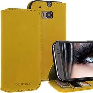 """BLUMAX HTC ONE M8 (2014) Ledertasche Wallet """"N°6"""" handgearbeitete Slim Fit Lederhülle mit 3 Kartenfächern, Standfunktion und weich gefütterter Klappe, Antik Gelb"""
