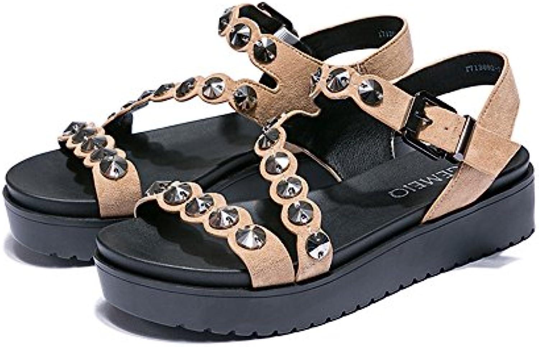 XZGC Moda De Verano Sandalias Zapato Abierto Tricot Plataforma Calzado Casual Confort