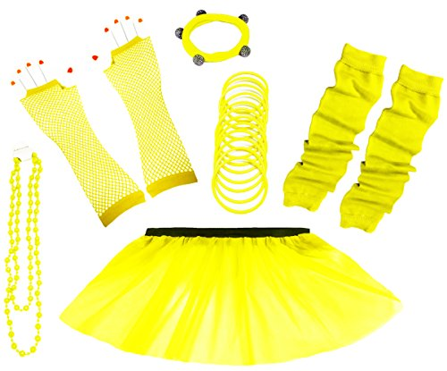 A-Express 80er Damen Neon Tütü Rock Ebene Beinstulpen Handschuhe Halskette Tüll Fluo Ballett Verkleidung Party Tutu Rock Kostüm Set (36-44, (Womens Kostüme Tutu)