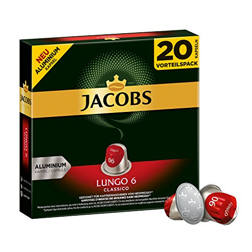 Jacobs Kapseln Lungo Classico - Intensität 6 - 200 Nespresso®* kompatible Kaffeekapseln aus Aluminium (10 x 20 Kapseln) (Aroma Expresso Maschine)