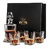 Van Daemon Décanteur à whisky en cristal (750 ml) et lot de 4verres (300 ml) Décanteur «Tasman Twist» en cristal sans plomb pour spiritueux, bourbons ou scotchs. Livré dans un coffret cadeau.