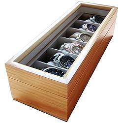 Solid Light Holz Uhrenbox Organizer mit Glas Display TOP von Fall Eleganz