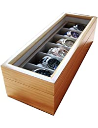 Case Elegance Edle Uhrenbox für 6 Uhren mit Glasfenster aus Echtholz