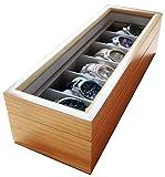 Edle Uhrenbox für 6 Uhren mit Glasfenster aus Echtholz von