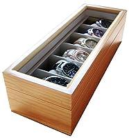 Edle Uhrenbox für 6 Uhren mit Glasfenster aus Echtholz von Case Elegance