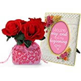 TiedRibbons® Special Gifts For Girlfriend Flower Sack With Bunch Of Roses And Resin Photo Frame