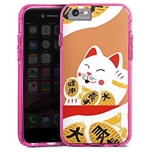 Apple iPhone 6s Bumper Hülle Bumper Case Glitzer Hülle Japan Katze Cat Bumper Case transparent pink