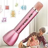 Micrófono Bluetooth Inalámbrico, Micrófono Karaoke para Niños con Altavoz Juguete portátil Máquina de karaoke Música Cantar Mic Fiesta en casa Echo Mic Karaoke Pascua Regalo para niños Niñas(Rosa)