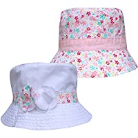 Girl's Fully Reversible 2 in 1 Floral Summer Sun Beach Hat (3-6 Years (53cm), White)