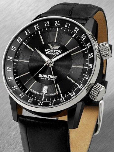 Vostok Europe 5602059 - Reloj para hombres, correa de cuero color negro