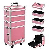Yaheetech Alu Beauty Case Rollkoffer 4 in 1 Kosmetikkoffer Schminkkoffer Make-up Friseur Kosmetikkoffer in Pink