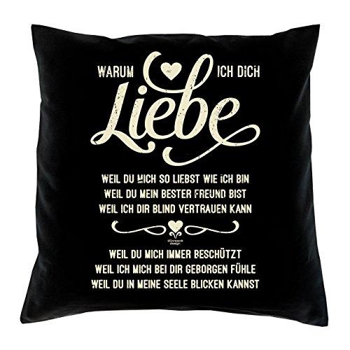 Geschenk zum Valentinstag :: Warum ich Dich liebe :: Romantische Geschenkidee Valentinstagsgeschenk für Frauen & Männer:: Kissen inkl. Füllung Farbe: schwarz