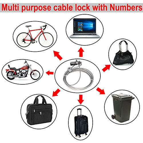 RiaTech 2m Long Multi Purpose Security Cable Lock with Number for Notebook/Laptop Bicycle Bike Hand Bag Trolley Bag