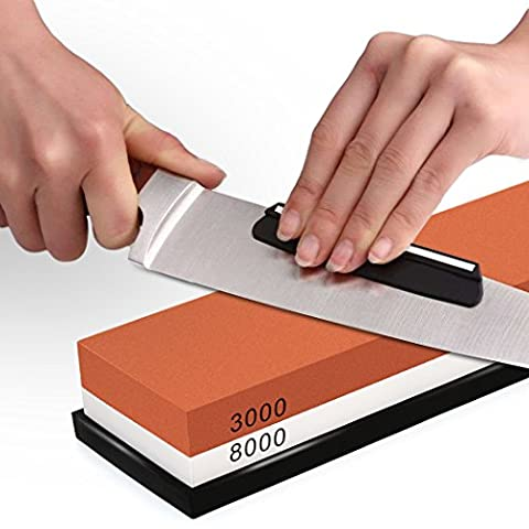 Sharpening Stone , SIEGES Whetstone 3000 / 8000 Grit Combination Waterstone Knife Sharpener Grindstone with Non-slip Base, Angle Guide for Kitchen Outdoor