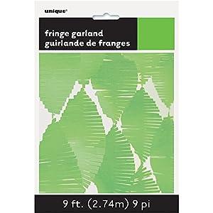 Unique Party- Guirnalda de flecos de papel de seda, Color verde lima, 274 cm (63633)