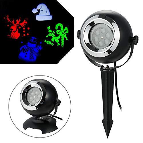 YHLU Weihnachtliche Dekorative Projektor-Leuchten Mit 4 Mustern, Wasserdichte Outdoor-Party Leuchten Für Weihnachts-Geburtstagsfeiern
