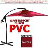 habeig Ampelschirm 2,5 x 2,5 m quadratisch WASSERDICHT durch PVC Schirm 250x250cm Sonnenschirm (Bordeaux #33)