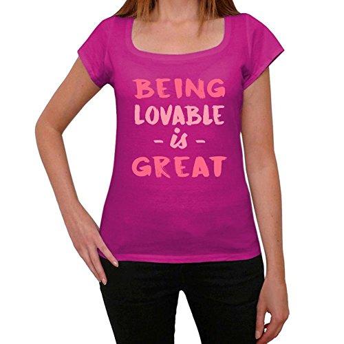 Lovable, Being Great, großartig tshirt, lustig und stilvoll tshirt damen, slogan tshirt damen, geschenk tshirt Rosa