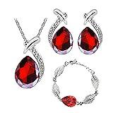 Scrox 3pcs Juego de Joyas Mujeres Plata Conjunto Moda Crystal Joyería Exquisito Collar Gotitas de Agua Colgante Rhinestone Pulsera Anillo Pendientes (Rojo)
