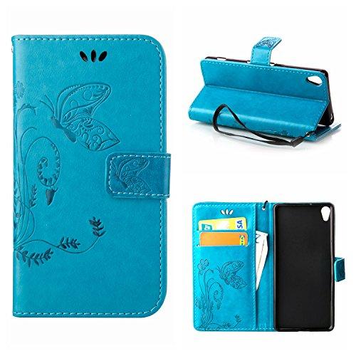 MOONCASE Xperia X Hülle, Schmetterling Tasche Pu Leder Klappetui Bookstyle Schutzhülle für Sony Xperia X Handyhülle Magnetisch [Card Slot] TPU Case mit Standfunktion und Wrist Strap Blau