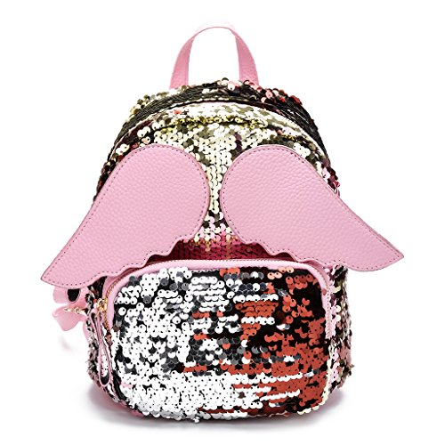 Junlinto Frauen Mädchen Glitter Pailletten Rucksack Schultasche Schultertasche mit Angel Wings-Pink (Angel Wing Rucksack)