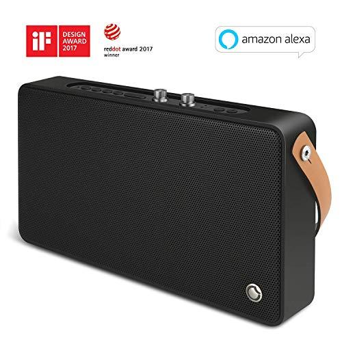 WLAN-Lautsprecher, Multiroom-Lautsprecher mit Höhen- und Bassregler; Satter Sound und kraftvoller Bass 20W Treiber, Unterstützt die Anbindung an Spotify, Airplay, DLNA, iHeartRadio, schwarz (Wifi Lautsprecher Bluetooth)