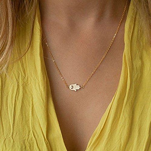 Dasuke Halsketten Für Damen Mit Anhänger Elefanten Muster Gold Gliederkette Kurz Halsband Schmuck (D)