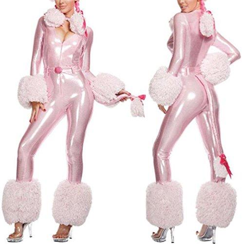 ZFANG Weihnachten Cosplay Frauen Strumpfhosen One Piece Sexy Party Set Rosa Leder einteiliges Kleid , pink , (Bunny Killer Halloween Kostüm)