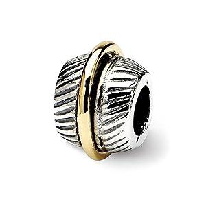 Black Bow Jewellery Company: Strukturierte Bali Sterling Silber & 14K Gelb Gold Bead Charm