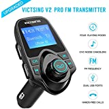 Fm Transmitter For Car, Victsing Bluetooth Radio Transmitter From Phone To Car, Fm Stereo Transmitter Kit For Music, Mp3 Player Fm Modulator With Dual USB 5V 2.1A USB Charger, 1.44 Inch LCD Display, 4 Playing Modes, Wireless Fm Broadcasting, Aux Car Audio
