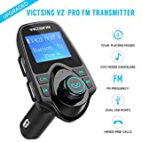 #5: Fm Transmitter for Car, Victsing Bluetooth Radio Transmitter from Phone to Car, Fm Stereo Transmitter Kit for Music, Mp3 Player Fm Modulator with Dual USB 5V 2.1A USB Charger, 1.44 Inch LCD Display, 4 Playing Modes, Wireless Fm Broadcasting, Aux Car Audio Fm Adapter for iphone ipod Android & more Devices , Pure Black