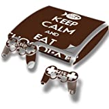 Keep Calm And Eat Chocolate, Designfolie Sticker Skin Aufkleber Schutzfolie mit Farbenfrohem Design für PlayStation 3 Slim