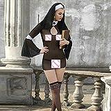 YQZXKL Bodystocking Frauen Dessous Kostüm Cosplay Nonnen Uniform Transparent Porno Exotisches Kleid Nonne Halloween Dress Outfit Kleidung,Schwarz,Eine Größe
