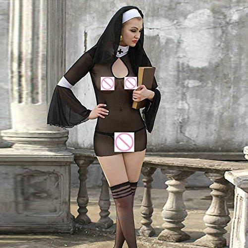 YQZXKL Bodystocking Frauen Dessous Kostüm Cosplay Nonnen Uniform Transparent Porno Exotisches Kleid Nonne Halloween Dress Outfit Kleidung,Schwarz,Eine Größe (Ding 1 Und Ding 2 Halloween Kostüme Für Frauen)