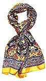 Lorenzo Cana Luxus Herren Seidenschal aufwändig bedruckt Paisley Muster Schal 100% Seide 50 cm x 170 cm harmonische Farben Schaltuch